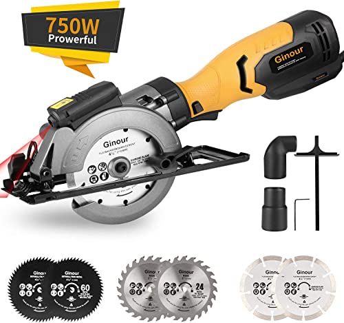 """high quality Mini Circular Saw, Ginour 6.2A Small Power Saw with Laser Guide, new arrival 6 Blades(2 pcs 5"""" & 4 pcs 4-1/2""""), Max Cutting Depth 1-7/8''(90°), 1-5/16''(45°), Ideal for discount Wood, Tile, Backerboard, Cement, Drywall online sale"""