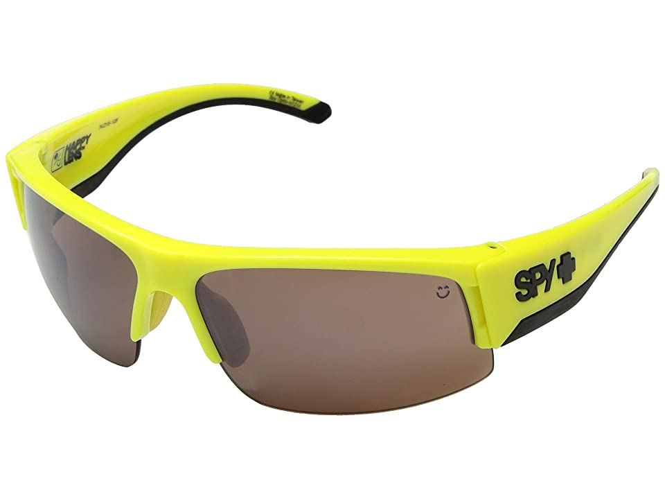 Spy Optic Flyer (Hi Vis Yellow/Happy Bronze w/ Black Mirror) Fashion Sunglasses