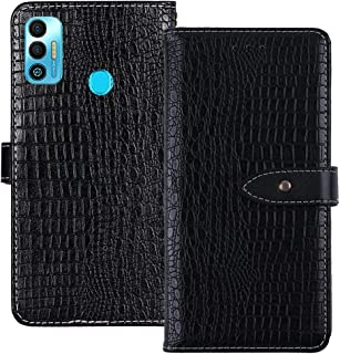YLYT Shockproof - Black Flip Leather TPU Silicone Luxury Cover Stand Wallet Case For Tecno Spark 7T 6.52 inch Pouch With C...
