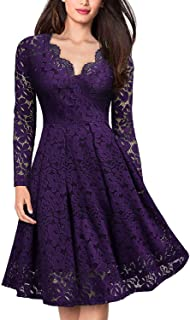 MONCOLAND Floral Lace Long Sleeve V Neck Dress for Women Cocktail Valentine Wedding Homecoming