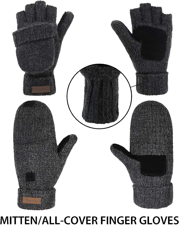 Winter Knitted Convertible Fingerless Gloves Wool Mittens Warm Mitten Glove for Women and Men