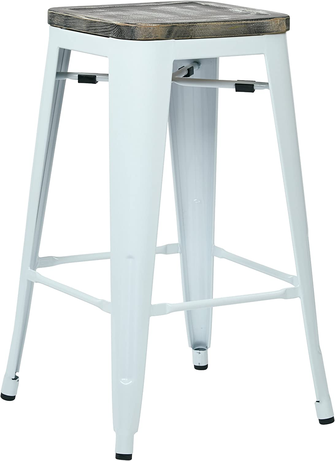 Office Star Bristow 26-Inch White Metal Frame Barstool with Vintage Wood Seat, Ash Crazy Horse, 2-Pack
