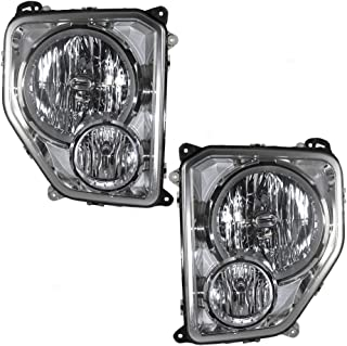 Driver and Passenger Headlights Headlamps with Fog Lamps Replacement for Jeep SUV 55157339AE 55157338AE AutoAndArt