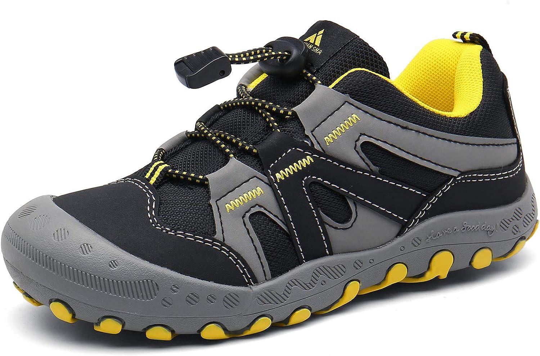 Mishansha Boys Girls Hiking Shoes Mesh Knit, Buckle Black, Size Little Kid 1.0