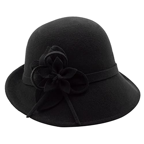 8e593b17da78a4 Bellady Women Solid Color Winter Hat 100% Wool Cloche Bucket with Bow Accent