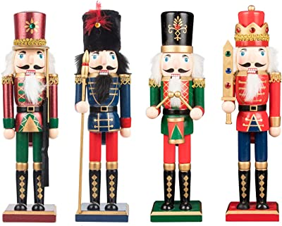 KI Store Christmas Nutcracker Set of 4 12-Inch Wooden Nutcracker King and Soldier Figurine Display Set for Christmas Decorations
