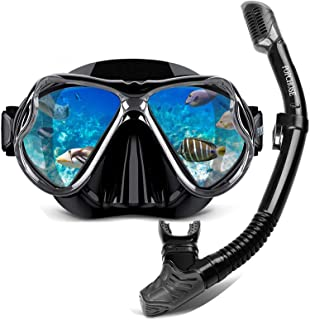 POPCHOSE Snorkel Set Silicone Snorkeling mask Set for Adults and Youth, Foldable Dry Top Snorkel Anti-Leak Anti-Fog Adjust...