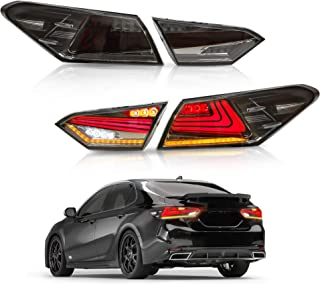 MOSTPLUS Smock Tinted LED Tail Lights for 2018 2019 Toyota Camry Rear Lamps Assembly w/Sequential Turn Light (Set of 2)