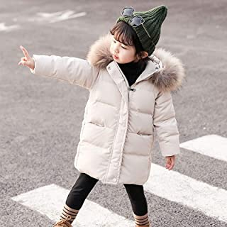 Winter Children Down Jacket Warm Long Hooded Jacket High Quality (Color : ROSE RED)
