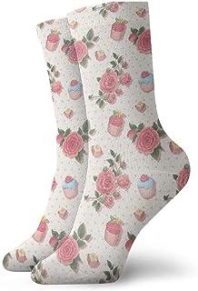 Pengyong, Pengyong - Calcetines Informales, Transpirables y Transpirables, diseño de Rosas y Postre, para Hombres y Mujeres