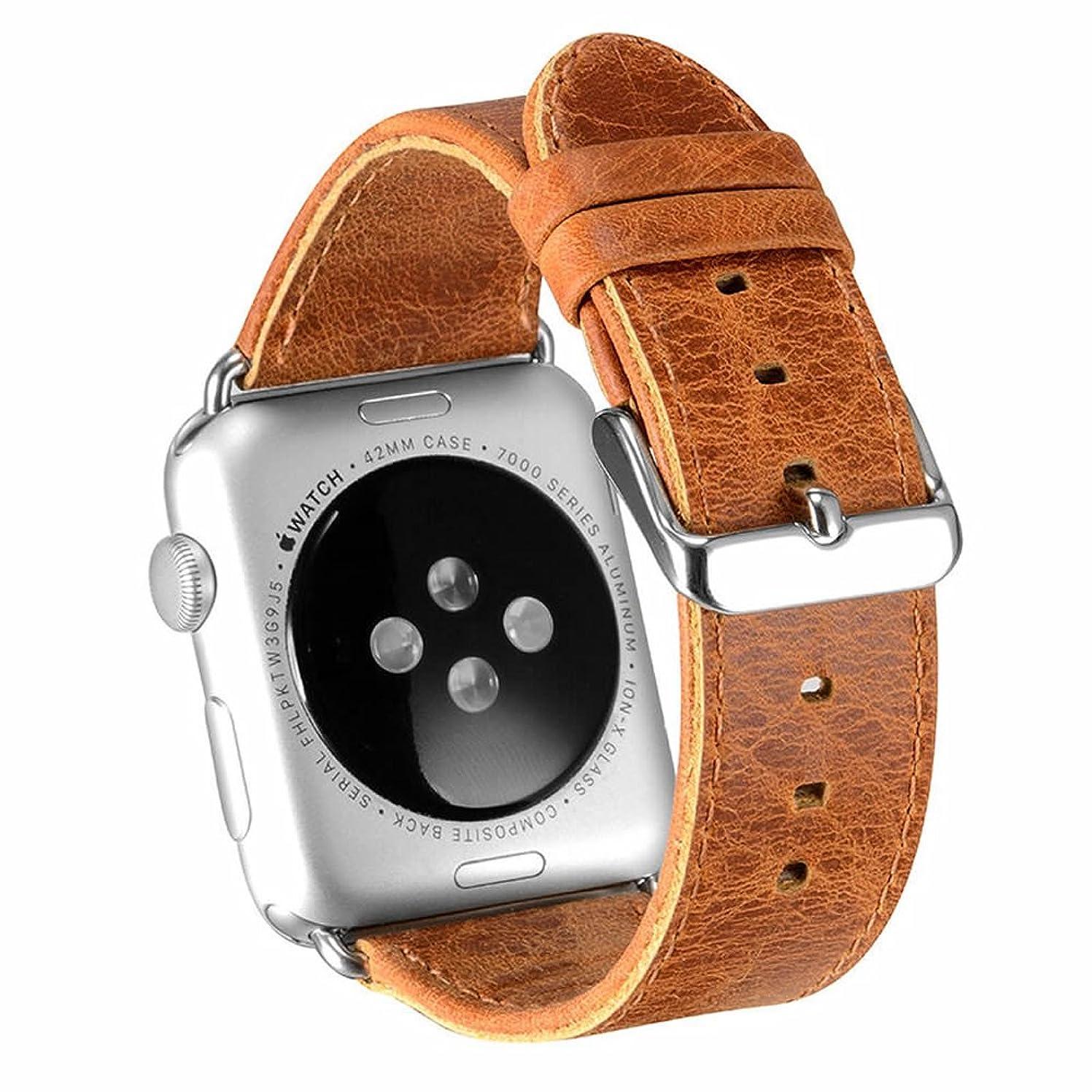 テクニカル増強する注ぎますXIHAMA For Apple Watch シリーズ5 シリーズ4 シリーズ3 シリーズ2 シリーズ1に適用 バンド交換用 レザーバンド 工具付き (42mm/44mm, light brown)