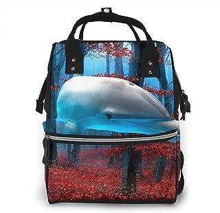 Risating Mummy rugzak - dolfijnen reizen bos luier draagtas grote capaciteit waterdichte twill canvas voor reizen