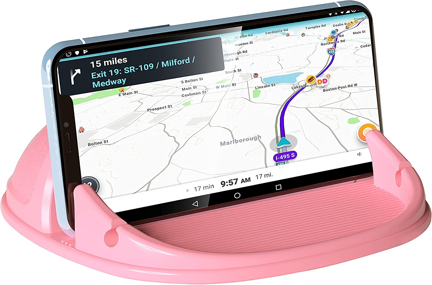 Loncaster Car Phone Holder, Car Phone Mount Silicone Car Pad Mat for Various Dashboards, Slip Free Desk Phone Stand Compatible with iPhone, Samsung, Android Smartphones, GPS Devices and More, Pink