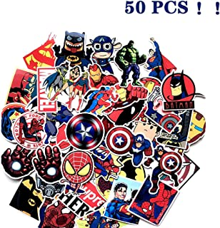 50PCS Avengers Vinyl Waterproof Stickers for Water Bottles, Car, Laptop, Kids Boys Girls Toy, Hydro Flask, Luggage, Skateboard, Motorcycle, Bicycle, Decal Graffiti Patches, Marvel Spiderman Stickers