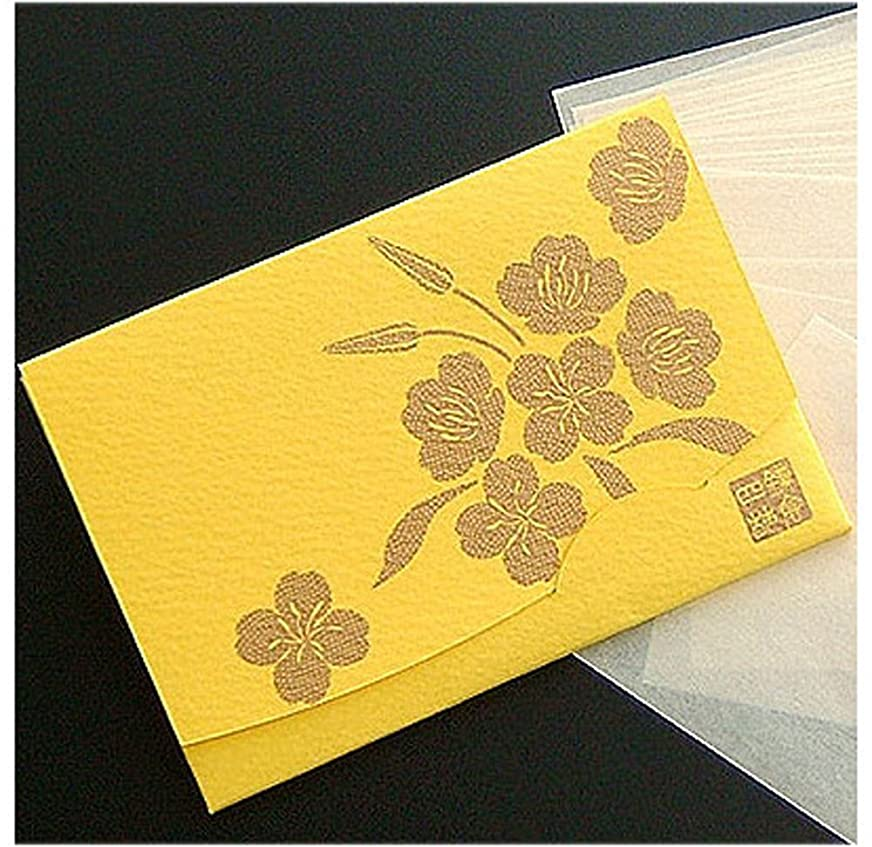 頂点大脳ログ季節の花 月見草(黄) 「絹すき」 短冊サイズ