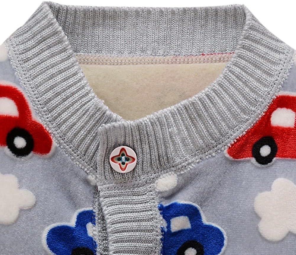 Weixinbuy Toddler Baby Boys Cartoon Car Soft Sweater Cardigan Outerwear Clothes