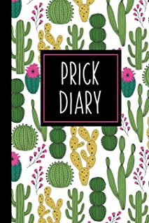 Prick Diary: A Funny Blood Sugar Log Book | Daily 1-Year Glucose Tracker | Diabetes Journal For Women | Pink Cactus
