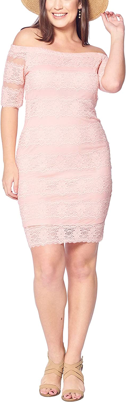 Talent Plus Women's Junior Plus Size Lacey Off Shoulders Full Lined Dress Scallop Hem