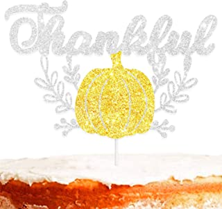Thankful Cake Topper Decorations with Pumpkin for Happy Thanksgiving Day Theme Thanks You Party Decor Supplies