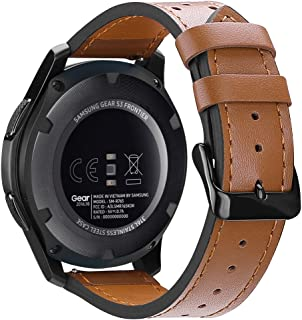 Gear S3 Watch Band 22mm, Fintie Genuine Leather Replacement Strap Wrist Bands Stainless Steel Metal Clasp Samsung Gear S3 Frontier/Gear S3 Classic Smartwatch - Brown