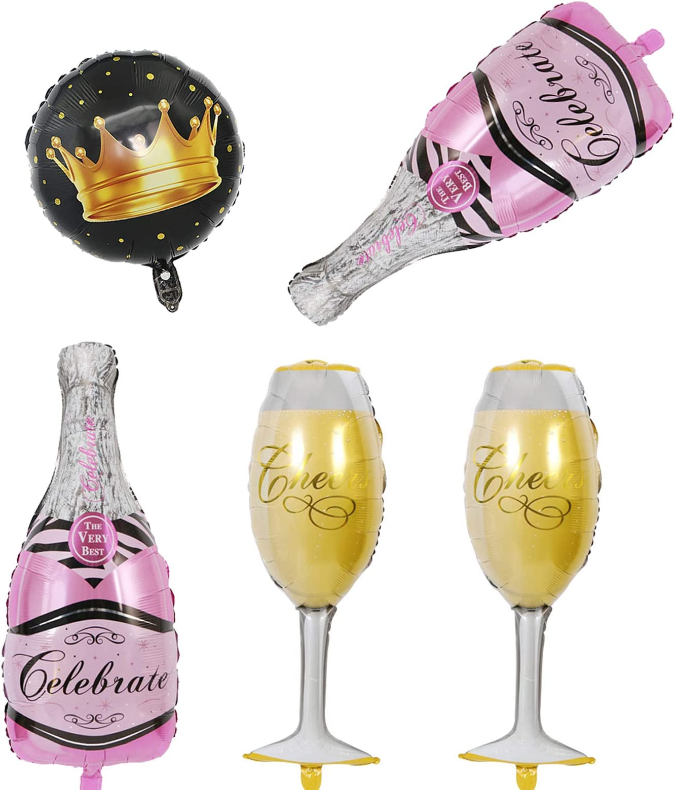 Birthday Party Pink Bottle and Gold Champagne Glass  Confetti Birthday party