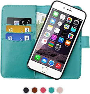 SHANSHUI Wallet Case Compatible with Phone 6 Plus/6s Plus, iPhone 7 Plus and iPhone 8 Plus, Detachable Magnetic Closure Leather Case with RFID Blocking - Turqoise 5.5''