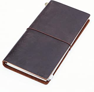 Medium Leather Journal, Collasaro Handmade Refillable Travelers Notebook Premium Personal Planner Diary Best Gift for Women Men (210 x 110 mm Plain Inserts)