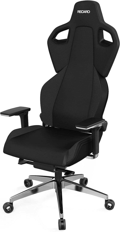 RECARO Exo Platinum Silla Gaming I Silla Gamer ergonómica con Altura Ajustable y apoyabrazos 5D, para máximo Confort al Jugar y en la Oficina I Telas Transpirables I Gaming Chair Black & Black