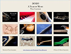 2020 A Year of Music Wall Calendar Fine Art Musical Instrument Photography Gift for Musician Twelve Month 11x8.5 Frameable Guitar Drum Piano Clarinet Flute Horn Photo Semi-gloss Card Stock 11x17 Open