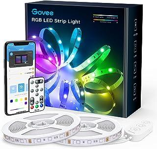 Govee LED Strip 2 rollen van 5m, RGB LED strips, bestuurbaar via app en afstandsbediening, met muziekmodus, voor thuis, sl...