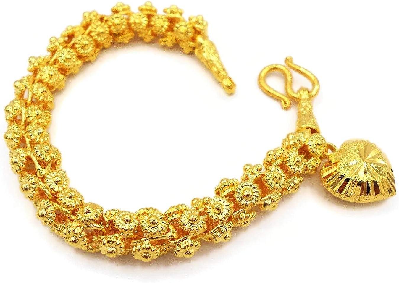 Heart Pikun Flower Lai Thai Gold Plated Bangle 22k 24k Thai Baht Yellow Gold Filled Bracelet Jewelry Women
