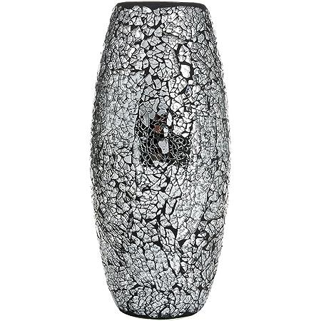 London Boutique Vase d/écoratif en mosa/ïque Scintillant Cadeau Noir