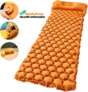 AirExpect Camping Sleeping Pad with Built-in Pump Upgraded Inflatable Camping Mat with Pillow for Backpacking, Traveling, ...