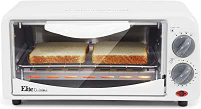 Elite Cuisine ETO-224 Personal 2 Slice Countertop Toaster Oven with 15 Minute Timer Includes Pan and Wire Rack, Bake, Broil, Toast