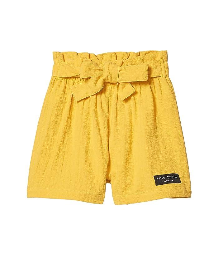 TINY TRIBE  Mustard Tie Shorts (Toddler/Little Kids) (Yellow) Girls Shorts