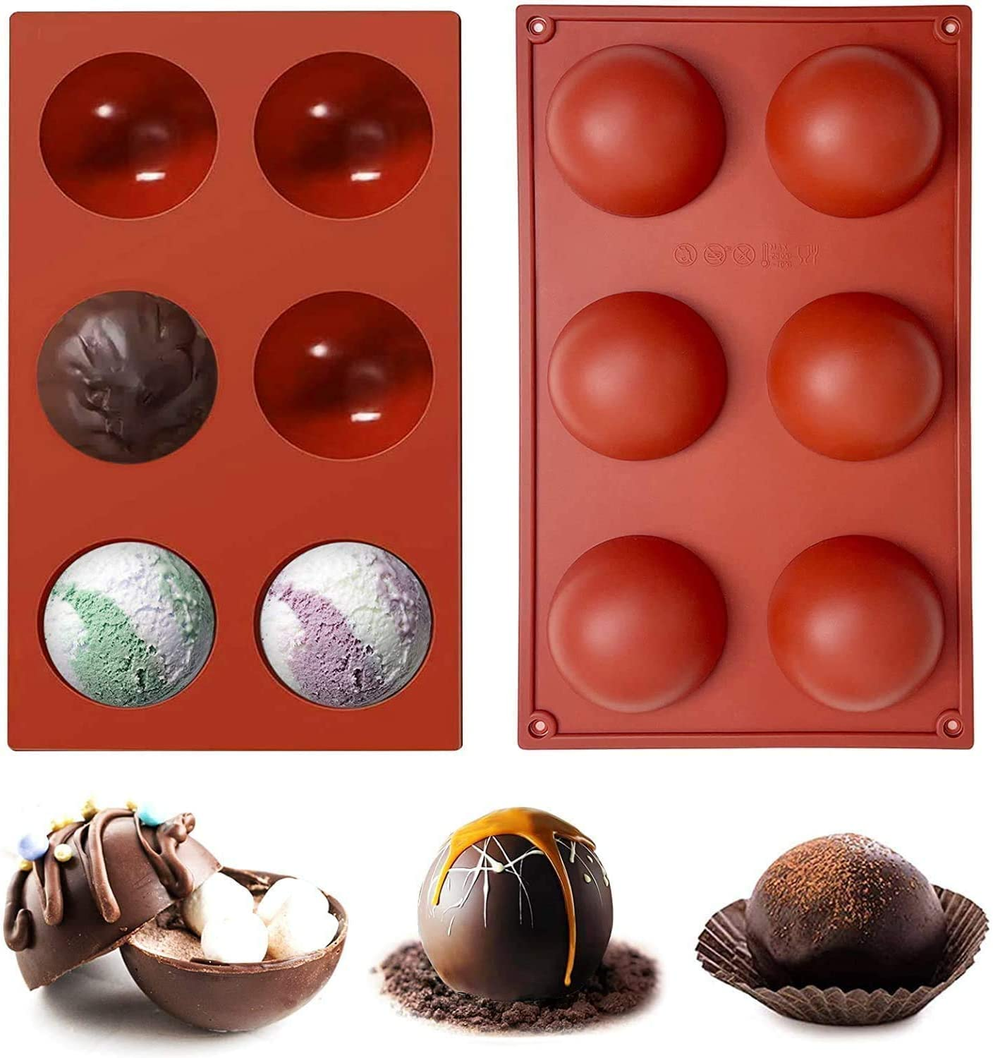 2 PCS Large 6-Cavity Popular brand in the world Semi Detroit Mall Chocolate Molds Silicone Sphere BPA