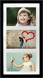BD ART 18x35 cm (7x14-Inch) - 3 Aperture Black Collage Picture Frame with Mat for 3 Photos 4x6-Inch