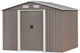 Ainfox 6'X8' Storage Shed with Foundation Kit, Outdoor Steel Toolsheds Storage Floor Frame Kit Utility Garden Backyard Lawn Warm Grey (6'x8' Storage Shed with Floor Base Kit)