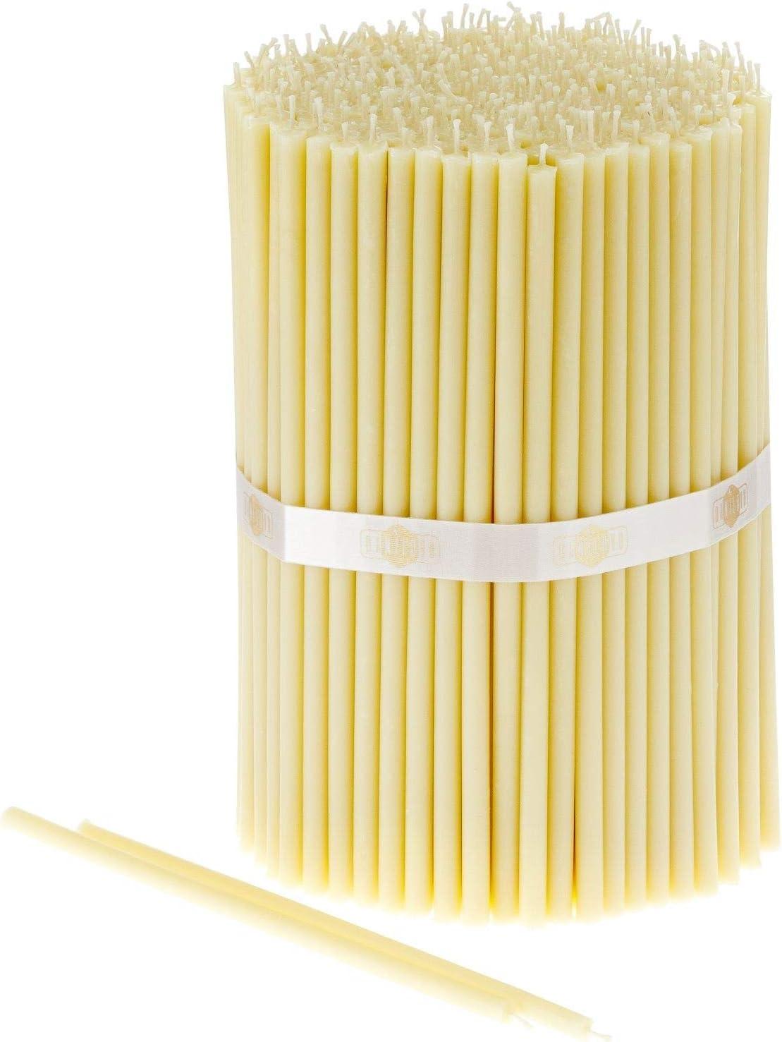 Danilovo 100 Velas Blancas de Cera de Abeja – Velas ortopédicas para oración, rituales, decoración de Mesa de Boda – no tóxicas, sin hollín – antigotes, N80, Altura: 18,5 cm, diámetro: 6,1 mm