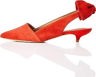 Amazon Brand - find. Women's Slingback Leather Suede Pump With Kitten Heel