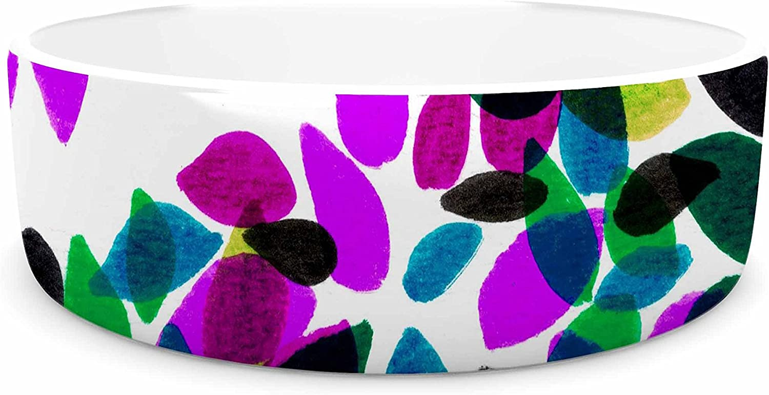 KESS InHouse Ebi Emporium Dahlia Dots 2  Purple Green Pet Bowl, 7
