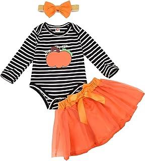 Newborn Baby Girl Halloween Outfits Pumpkin Stripe Romper + Bowknot Tutu Skirt + Headband Clothes Sets Infant Toddler 3Pcs