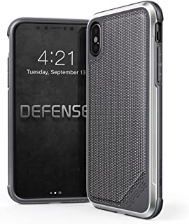 iPhone X, iPhone XS Case, X-Doria Defense Lux Series - Military Grade Drop Tested, Anodized Aluminum, TPU, and Polycarbonate Protective Case for Apple iPhone X, iPhone XS, iPhone 10 (Grey)