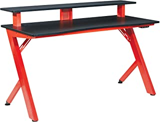 OSP Home Furnishings Area51 Battlestation LED Lit Gaming Desk, Red