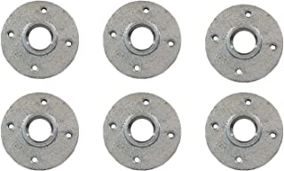 Galvanized Malleable Iron Pipe Floor Flanges Fittings with Four Holes Threaded FNPT 2 in. Pack of 6