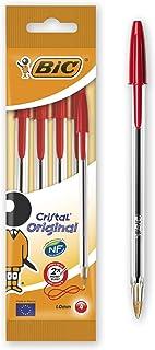 Bic Cristal Original - Bolígrafo de punta redonda, color rojo, pack de 4 unidades