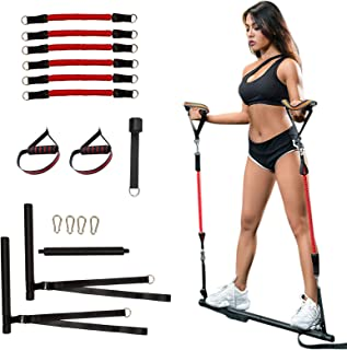 Clothink Portable Pilates Bar Kit with Resistance Bands, Portable Stick Bar Strength Training Set Home Gym Workout Equipment