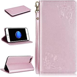 WE LOVE CASE iPhone 7 Plusケース / iPhone 8 Plusケース 手帳型 本革 レザー カード収納 ストラップ付き タッチペンケース マグネット式 横置きスタンド機能付き 二つ折り 上品 財布型 カード収納 ローズ 花 アイフォン7プラスケース おしゃれ かわいい