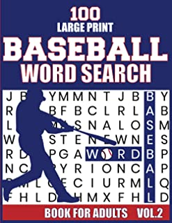 100 Large Print Baseball Word Search Book For Adults: Baseball Large Print Word Search Books | Brain Games Themed Baseball...