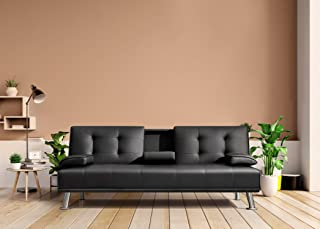 Flamaker Futon Sofa Bed Modern Faux Leather Couch, Convertible Folding Recliner Lounge Futon Couch for Living Room with 2 ...